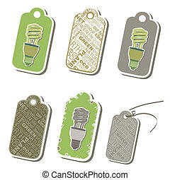 Eco friendly set of green tags