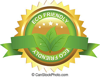 Eco Friendly Sign - Eco Friendly Emblem, Isolated On White...
