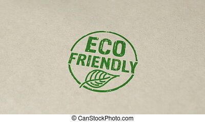 Eco friendly stamp and hand stamping impact animation. Ecology, organic, natural, life style and healthy diet 3D rendered concept.