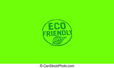 Eco friendly stamp and hand stamping impact isolated animation. Ecology, organic, natural, life style and healthy diet 3D rendered concept. Alpha matte channel.