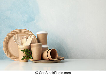 Eco - friendly tableware on white background, space for text