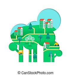 Eco friendly tree concept with green city