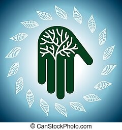 Eco friendly tree in hands illustra
