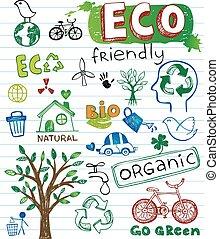 Eco friendly vector set - ECO vector set - doodles and ...