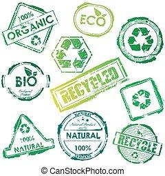 eco, frimærker, vektor