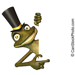 Eco Frog with Top Hat White Card