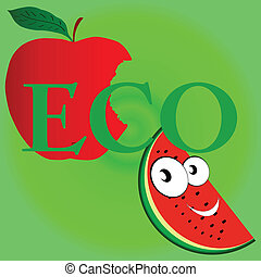 eco fruit vector illustration