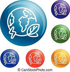 Eco globe earth icons set vector