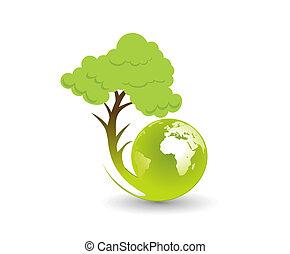 eco, globe, illustratie