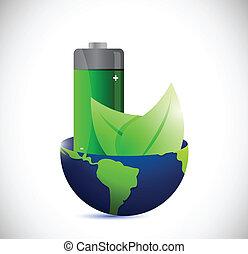 eco, globe, illustration, batterie, conception, énergie