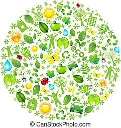 Eco Globe, Isolated On White Background, Vector Illustration