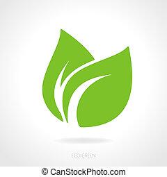 eco, grön, begrepp, blad