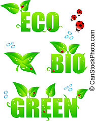 eco, grön, ikonen