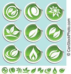 eco, grön, klistermärken