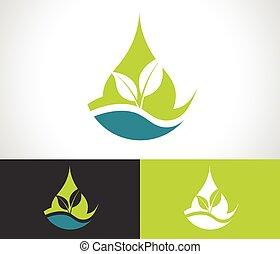 eco, grön leaf, ikon