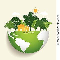 eco, grön, vektor, earth., illustration.