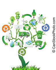 eco, grönt träd, ikonen