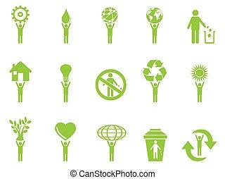 eco, grønne, beregner, pind, iconerne