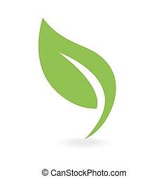 eco, grønnes blad, ikon