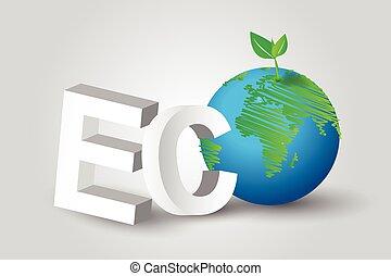eco, grüner baum, erde, begriff, idee, lines.vector, design