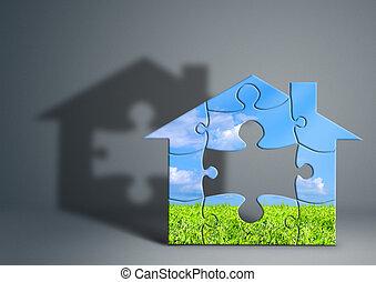 Eco, Grünes Haus, Begriff, Heim Hat Gemacht, Von, Puzzel, Auf