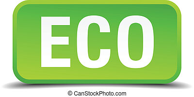Eco green 3d realistic square isolated button
