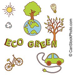 Eco Green Doodle Object Collection