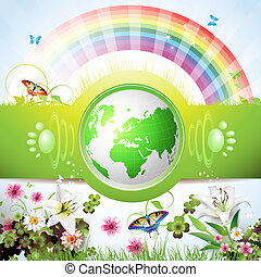 Eco Green Earth with flowers, butterflies and rainbow