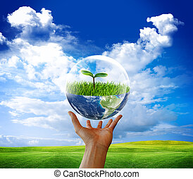 eco green - Earth in bubble water. Eco green