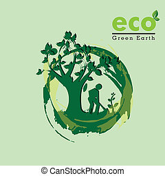 eco , green earth - eco ,green earth over green background...