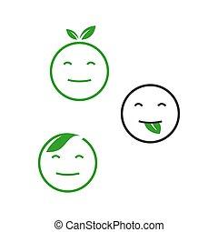eco green emoticon design vector icon smile face and leaf illustration