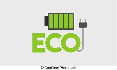 eco green energy animation - eco battery charger cable plug...