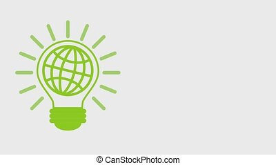 eco green energy animation - green planet with bulb light...