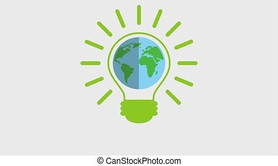 eco green energy animation - planet earth in bulb bright...