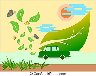 Eco green energy car and clean air concept save earth,illustration vector.