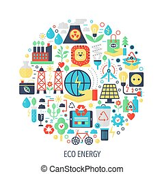 Eco green energy flat infographics icons in circle - color concept illustration for cover, emblem, template.