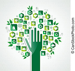 Eco green hand tree
