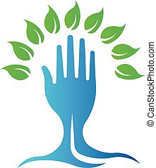 Eco Green Hand Tree. Vector Logo Symbol