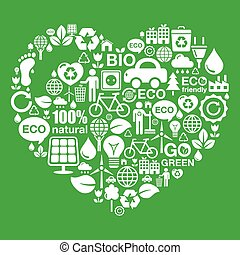Eco green heart shape background