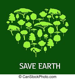 Eco green heart symbol with trees and plants