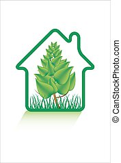 Eco green home icon