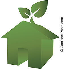 eco green house icon with leaf