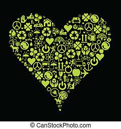 Eco green icon heart vector