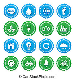 Eco green labels set - ecology, rec - Retro blue and green...