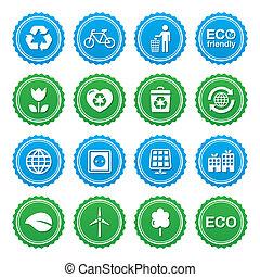 Eco green labels set - ecology