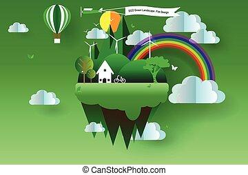 Eco green landscape flat design,vector,illustrator