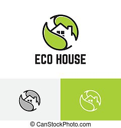 Eco Green Leaf House Home Real Estate Logo