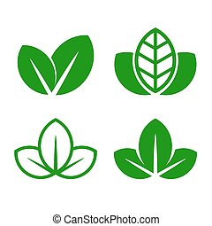 Eco Green Leaf Icon Set. Vector