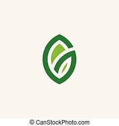 eco green leaf logo symbol vector bio organic icon
