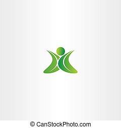 eco green leaf man logo yoga sign